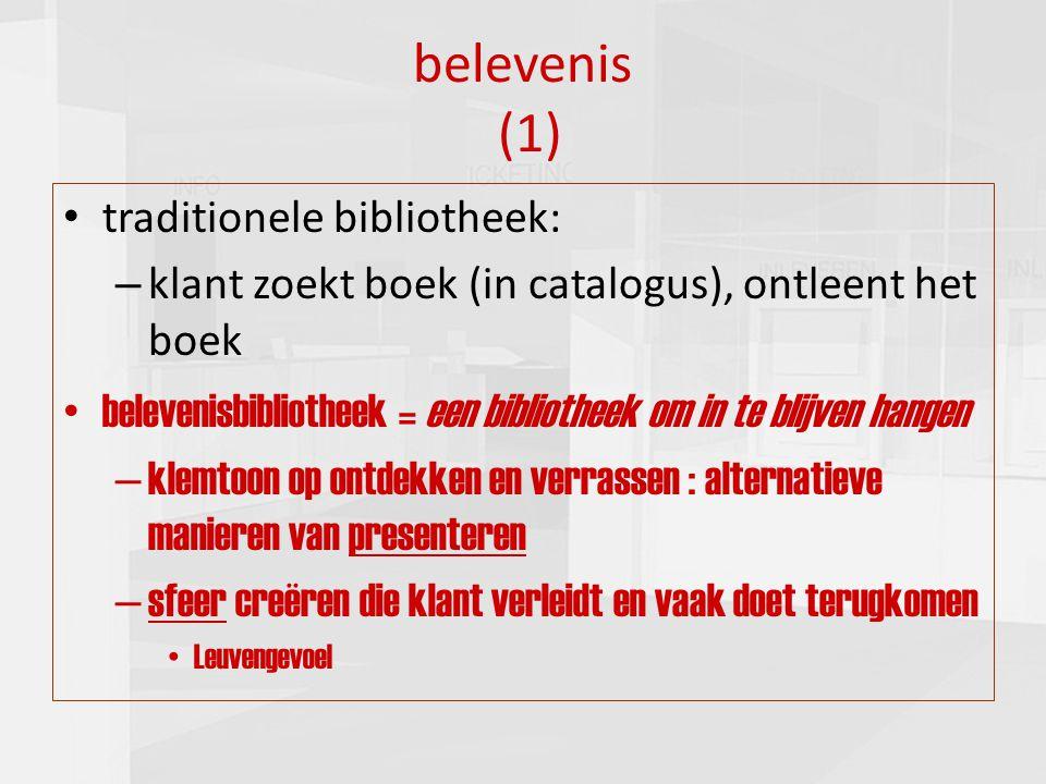presentatie commissie cultuur 16-03-20109 belevenis (1) traditionele bibliotheek: – klant zoekt boek (in catalogus), ontleent het boek belevenisbiblio