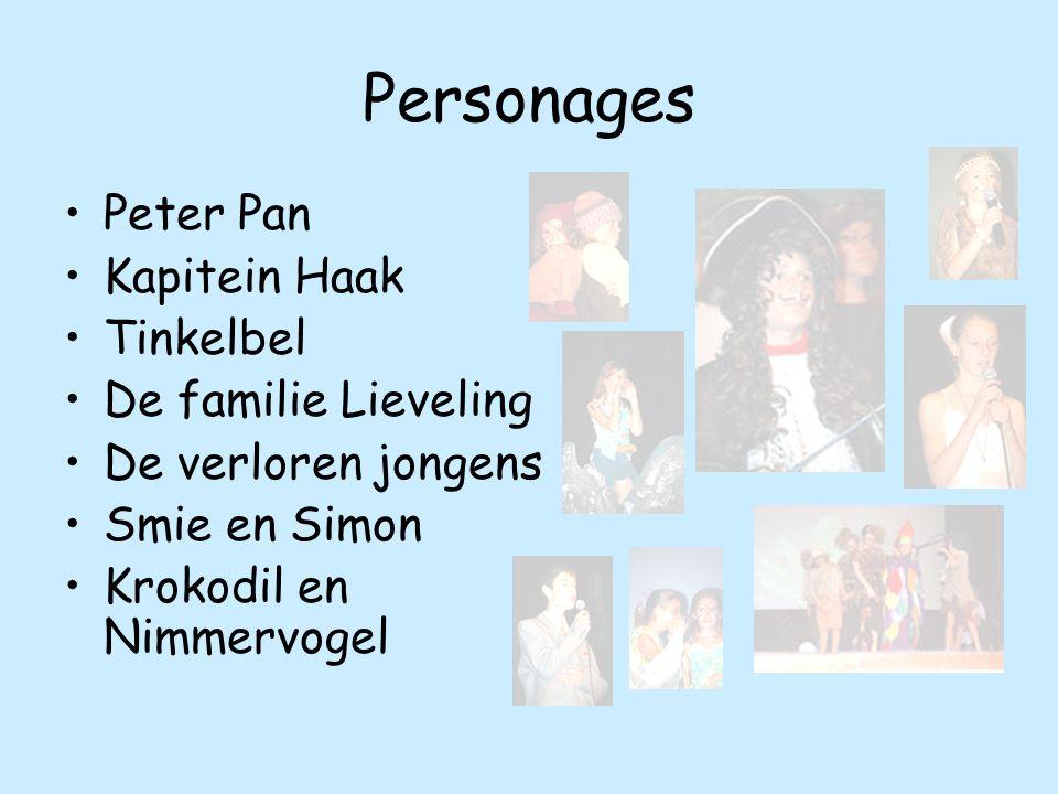 Peter Pan Kapitein Haak Tinkelbel De familie Lieveling De verloren jongens Smie en Simon Krokodil en Nimmervogel Personages