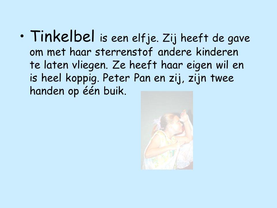 Tinkelbel is een elfje.Zij heeft de gave om met haar sterrenstof andere kinderen te laten vliegen.