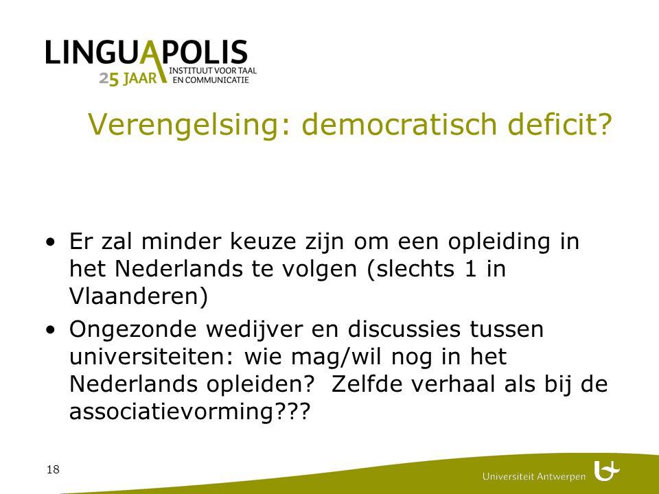 18 Verengelsing: democratisch deficit.