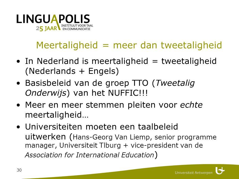 30 Meertaligheid = meer dan tweetaligheid In Nederland is meertaligheid = tweetaligheid (Nederlands + Engels) Basisbeleid van de groep TTO (Tweetalig Onderwijs) van het NUFFIC!!.