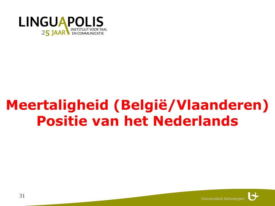 31 Meertaligheid (België/Vlaanderen) Positie van het Nederlands