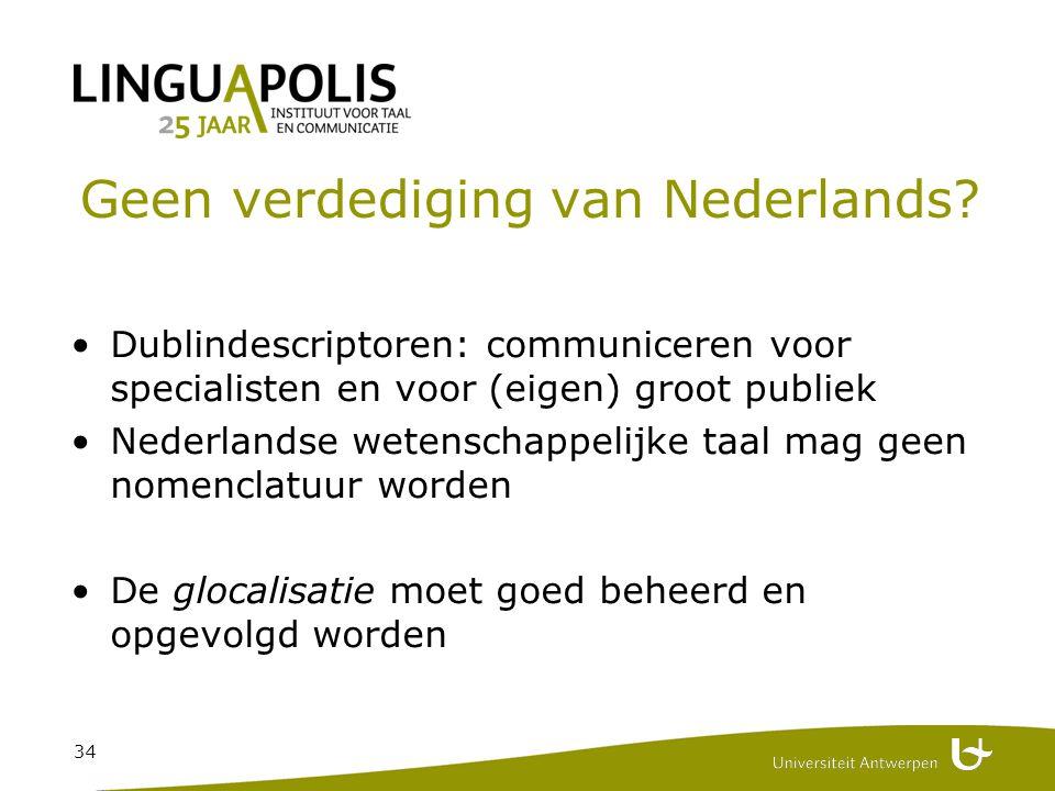 34 Geen verdediging van Nederlands.