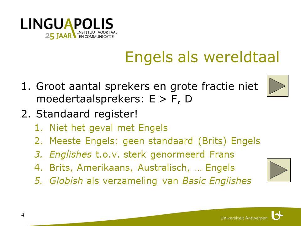4 Engels als wereldtaal 1.Groot aantal sprekers en grote fractie niet moedertaalsprekers: E > F, D 2.Standaard register.