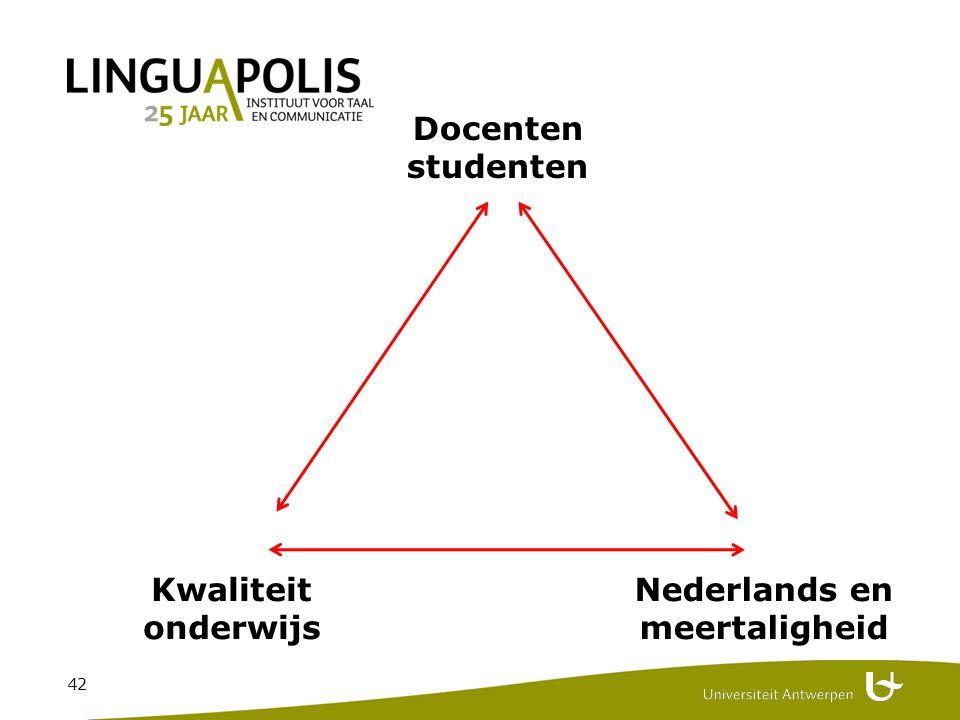 42 Docenten studenten Kwaliteit onderwijs Nederlands en meertaligheid