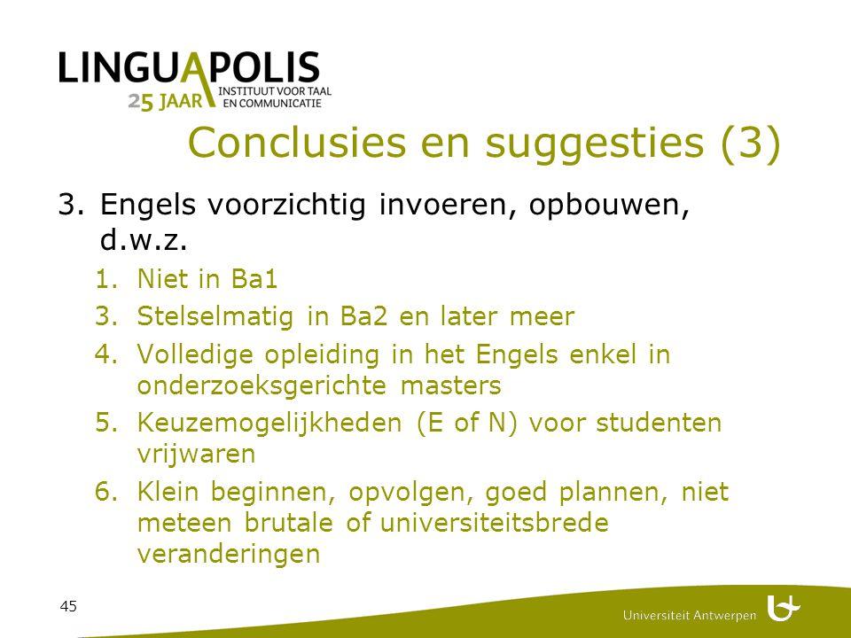 45 Conclusies en suggesties (3) 3.Engels voorzichtig invoeren, opbouwen, d.w.z.