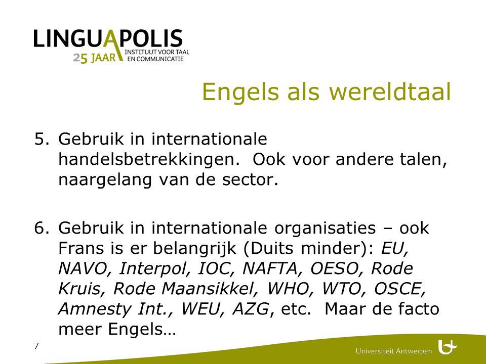 7 Engels als wereldtaal 5.Gebruik in internationale handelsbetrekkingen.