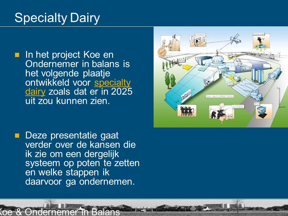 Koe & Ondernemer in Balans Specialty Dairy In het project Koe en Ondernemer in balans is het volgende plaatje ontwikkeld voor specialty dairy zoals da