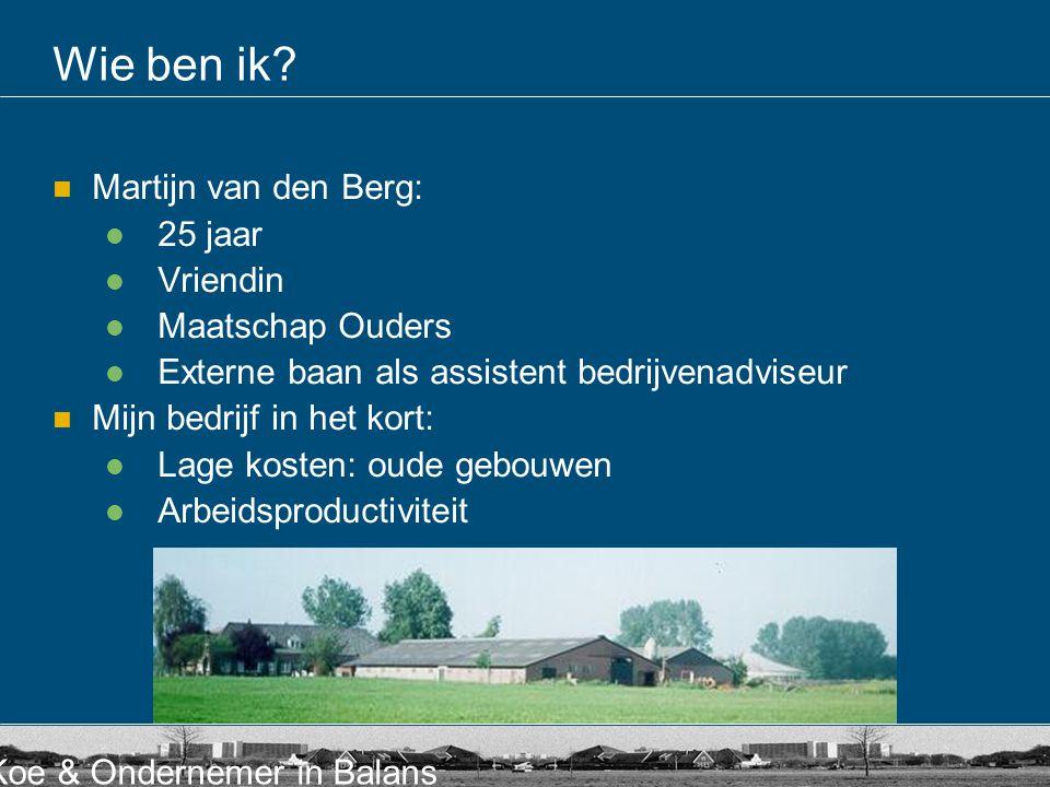Koe & Ondernemer in Balans Wie ben ik? Martijn van den Berg: 25 jaar Vriendin Maatschap Ouders Externe baan als assistent bedrijvenadviseur Mijn bedri