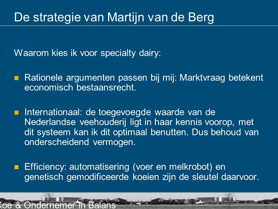 Koe & Ondernemer in Balans De strategie van Martijn van de Berg Waarom kies ik voor specialty dairy: Rationele argumenten passen bij mij: Marktvraag b
