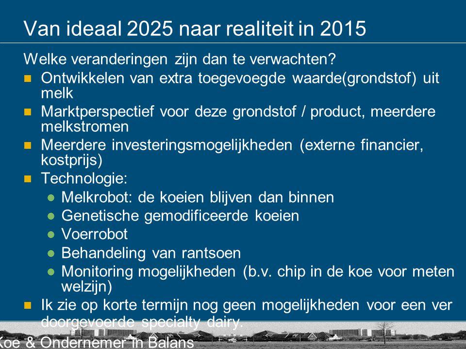 Koe & Ondernemer in Balans Van ideaal 2025 naar realiteit in 2015 Welke veranderingen zijn dan te verwachten? Ontwikkelen van extra toegevoegde waarde