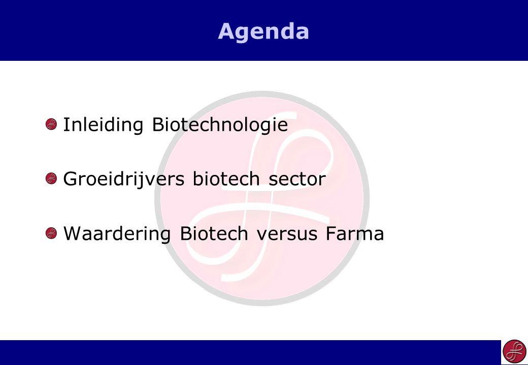 2 Agenda Inleiding Biotechnologie Groeidrijvers biotech sector Waardering Biotech versus Farma