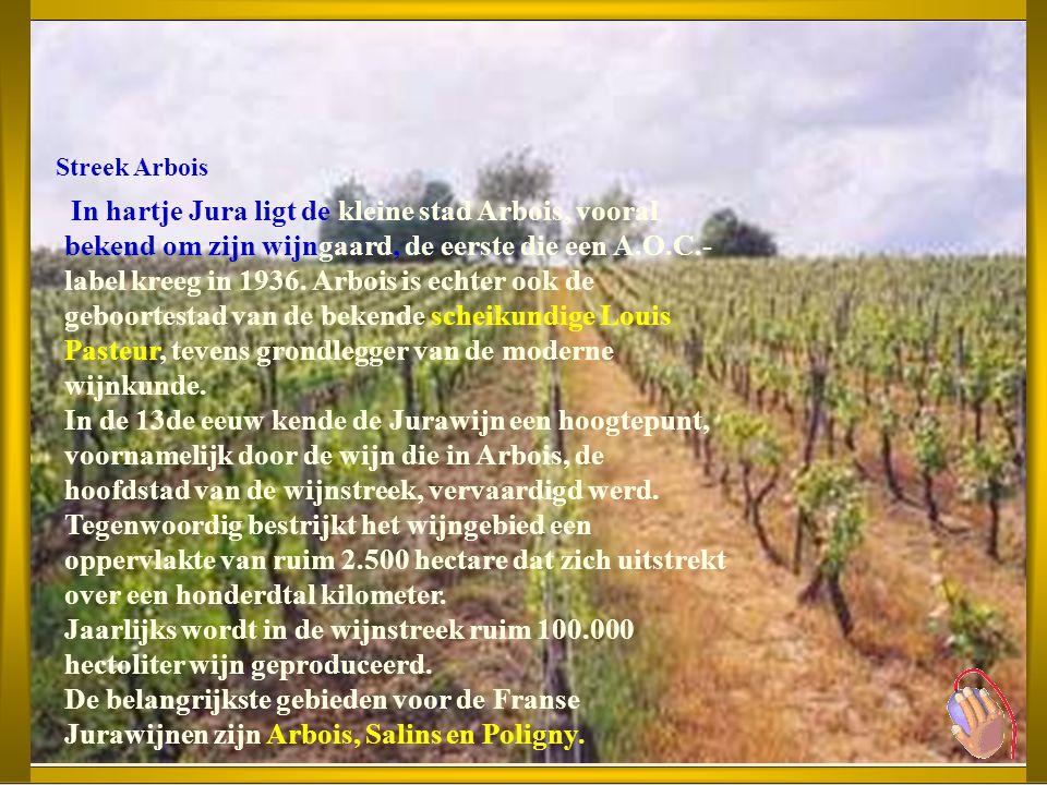 Jura Unieke wijnstreek tussen bergen en bossen. De Jurastreek bevindt zich tussen Zwitserland en Bourgogne. De wat afgezonderde wijngaarden van de Jur