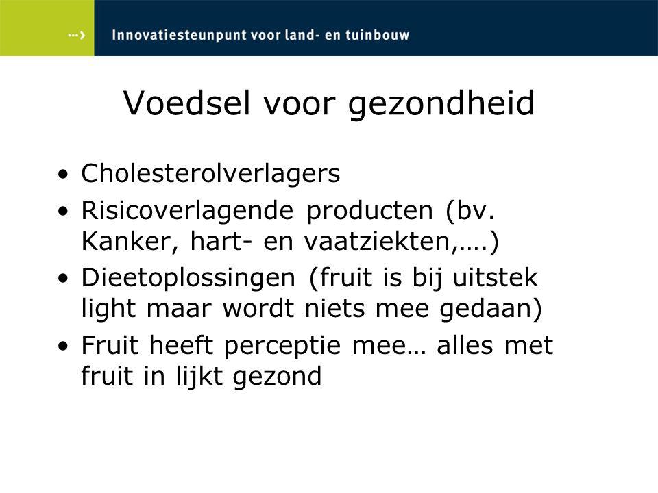 Cholesterolverlagers Risicoverlagende producten (bv. Kanker, hart- en vaatziekten,….) Dieetoplossingen (fruit is bij uitstek light maar wordt niets me
