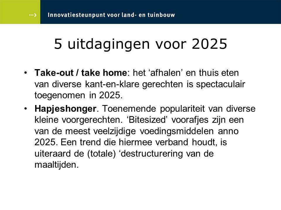 5 uitdagingen voor 2025 Take-out / take home: het 'afhalen' en thuis eten van diverse kant-en-klare gerechten is spectaculair toegenomen in 2025. Hapj