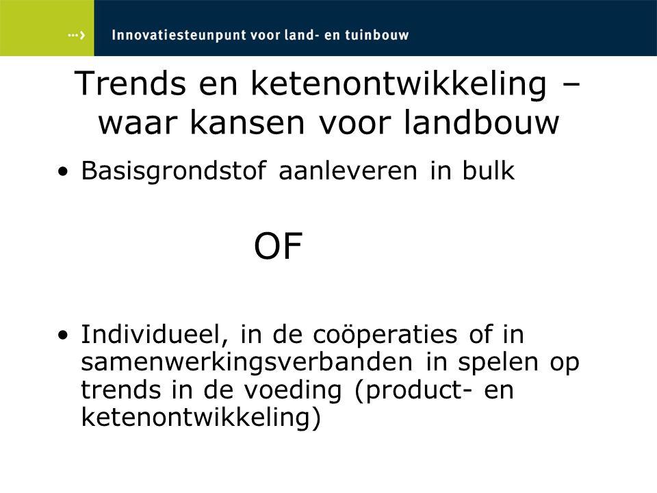 Trends en ketenontwikkeling – waar kansen voor landbouw Basisgrondstof aanleveren in bulk OF Individueel, in de coöperaties of in samenwerkingsverband