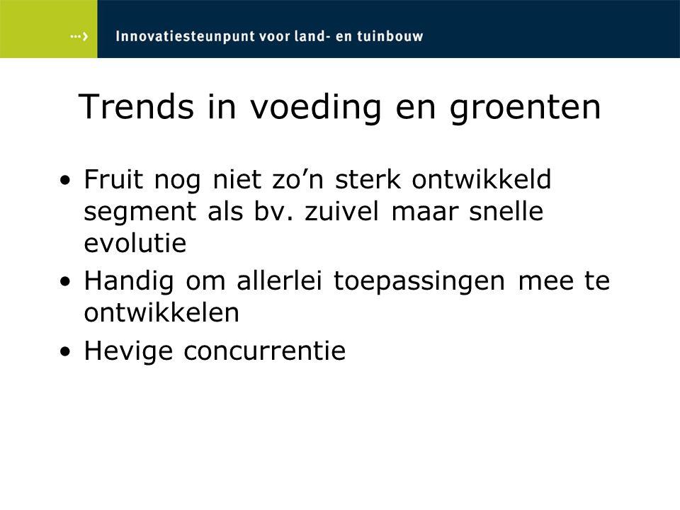 Trends in voeding en groenten Fruit nog niet zo'n sterk ontwikkeld segment als bv. zuivel maar snelle evolutie Handig om allerlei toepassingen mee te