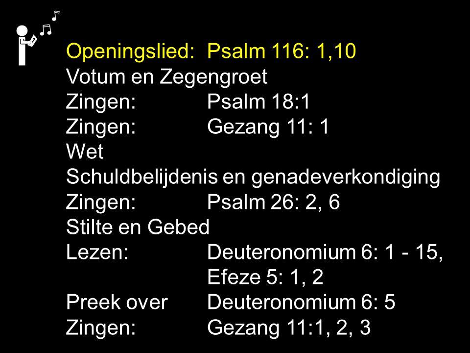 Openingslied: Psalm 116: 1,10 Votum en Zegengroet Zingen:Psalm 18:1 Zingen:Gezang 11: 1 Wet Schuldbelijdenis en genadeverkondiging Zingen:Psalm 26: 2, 6 Stilte en Gebed Lezen: Deuteronomium 6: 1 - 15, Efeze 5: 1, 2 Preek over Deuteronomium 6: 5 Zingen:Gezang 11:1, 2, 3