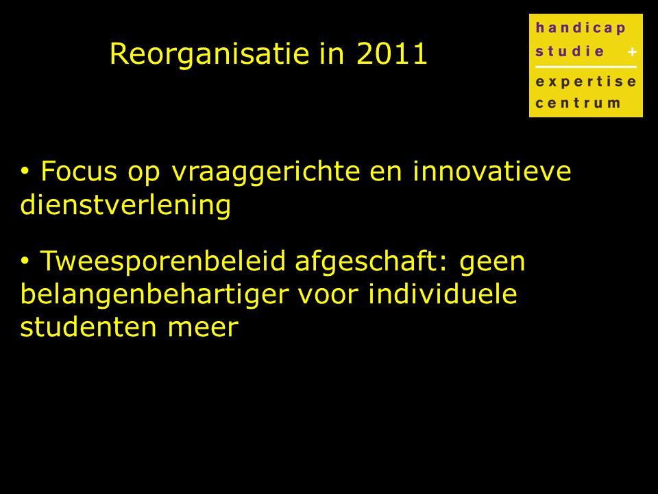 Reorganisatie in 2011 Focus op vraaggerichte en innovatieve dienstverlening Tweesporenbeleid afgeschaft: geen belangenbehartiger voor individuele studenten meer