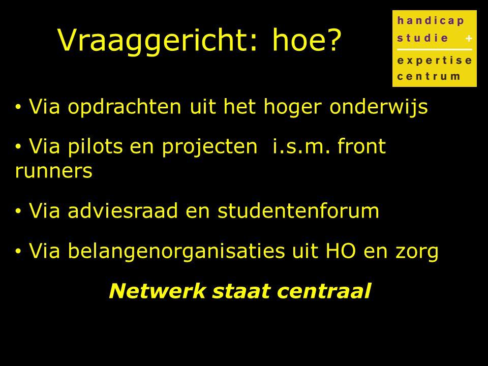 Vraaggericht: hoe. Via opdrachten uit het hoger onderwijs Via pilots en projecten i.s.m.