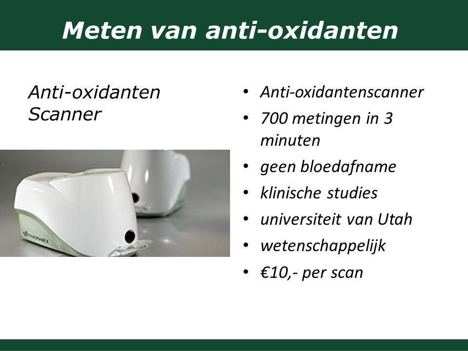 Meten van anti-oxidanten Anti-oxidantenscanner 700 metingen in 3 minuten geen bloedafname klinische studies universiteit van Utah wetenschappelijk €10