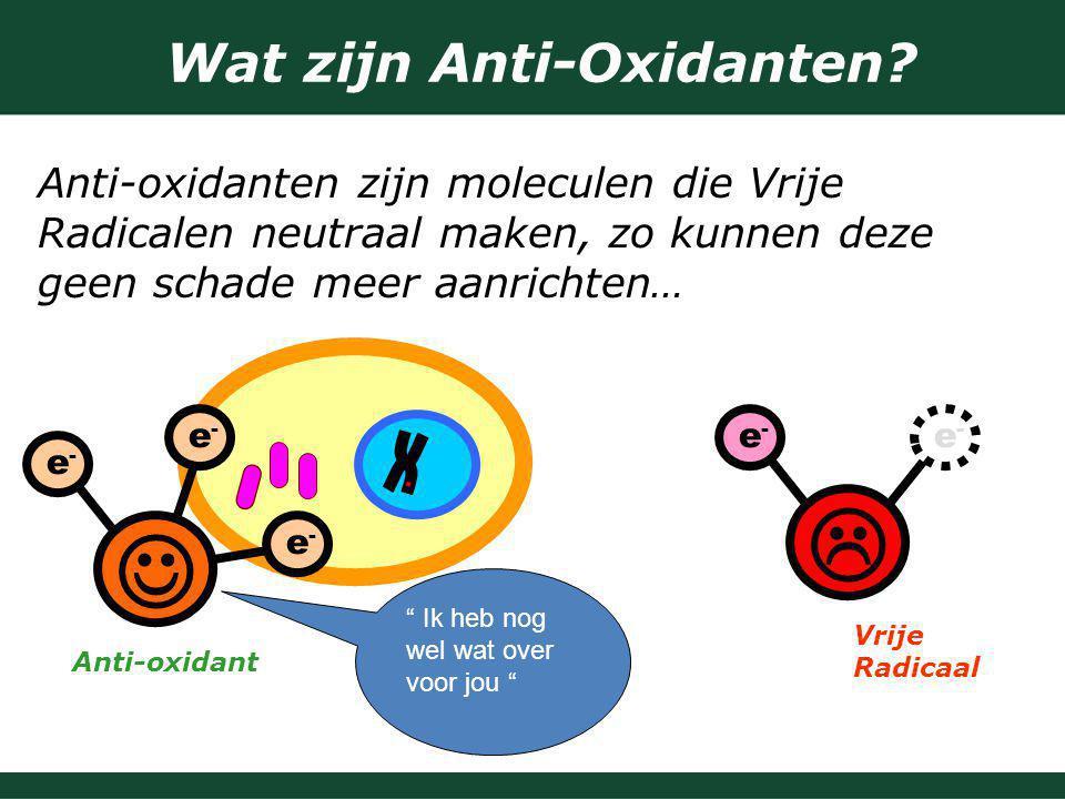 Wat zijn Anti-Oxidanten? Anti-oxidanten zijn moleculen die Vrije Radicalen neutraal maken, zo kunnen deze geen schade meer aanrichten…  Vrije Radicaa