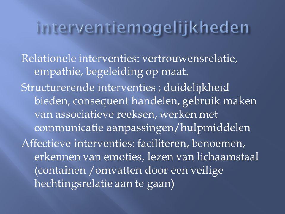 Relationele interventies: vertrouwensrelatie, empathie, begeleiding op maat. Structurerende interventies ; duidelijkheid bieden, consequent handelen,