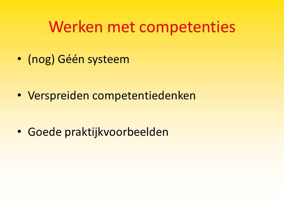Werken met competenties (nog) Géén systeem Verspreiden competentiedenken Goede praktijkvoorbeelden