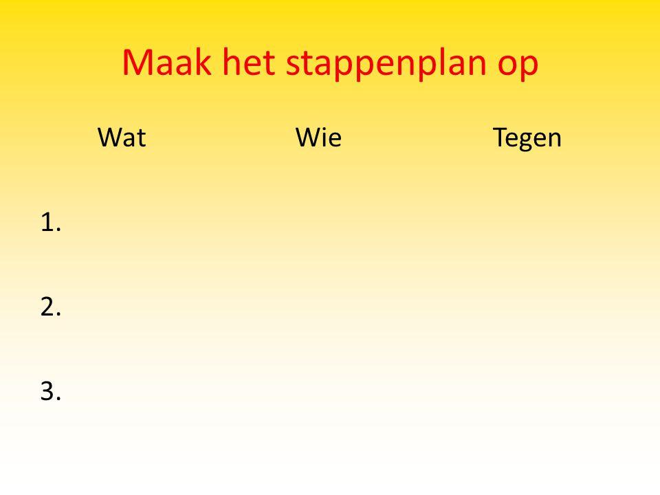 Maak het stappenplan op Wat WieTegen 1. 2. 3.