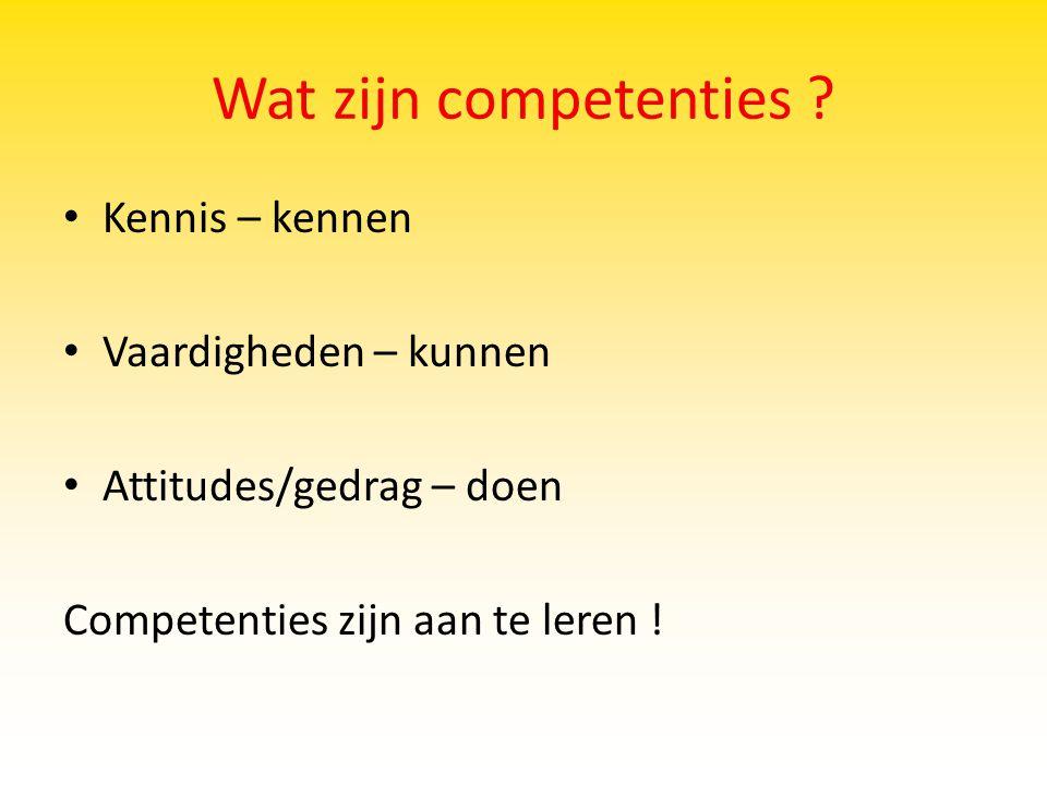 Wat zijn competenties ? Kennis – kennen Vaardigheden – kunnen Attitudes/gedrag – doen Competenties zijn aan te leren !
