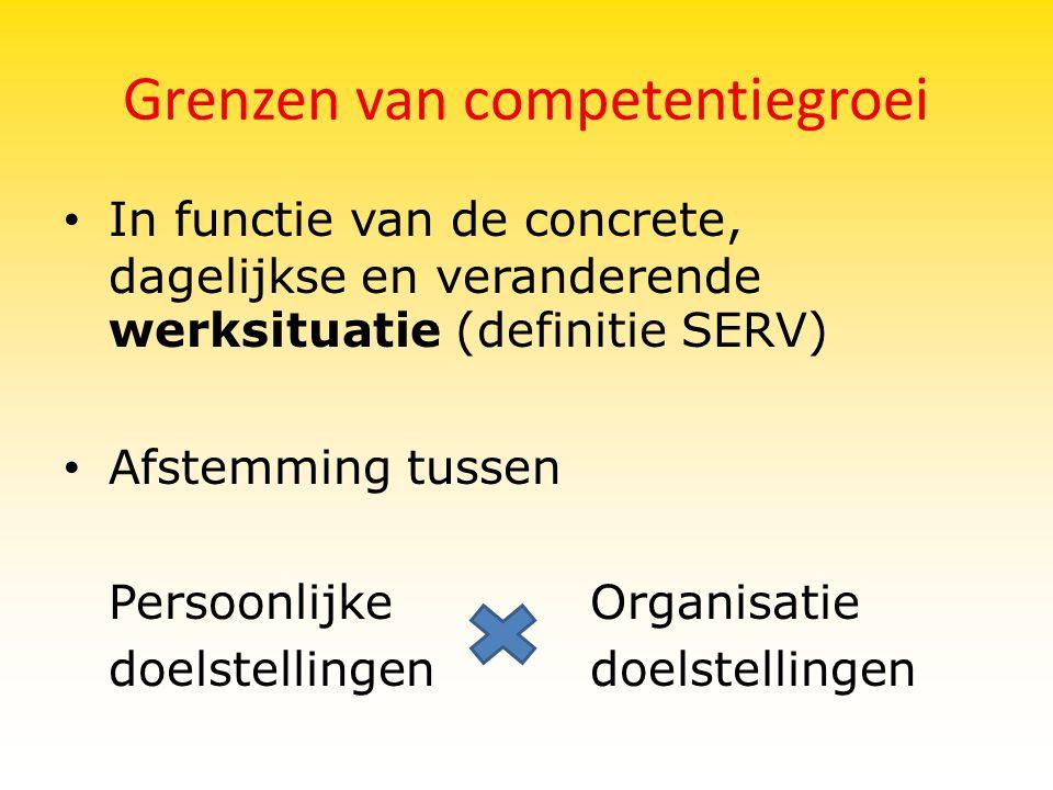 Grenzen van competentiegroei In functie van de concrete, dagelijkse en veranderende werksituatie (definitie SERV) Afstemming tussen PersoonlijkeOrgani