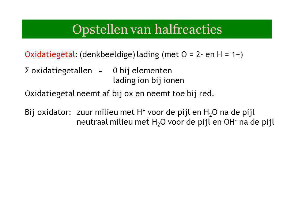 Cr 3+  Cr 2 O 7 2- Stap 1:Noteer oxidator en reductor Stap 2:Maak element kloppend Stap 3:Maak O en H kloppend met H 2 O, H + of OH - afhankelijk van het milieu 2+ 7H 2 O+ 14 H + + 6e - Vraag 1: Chroom(III)ionen in neutraal milieu naar dichromaat Stap 4:ladingbalans