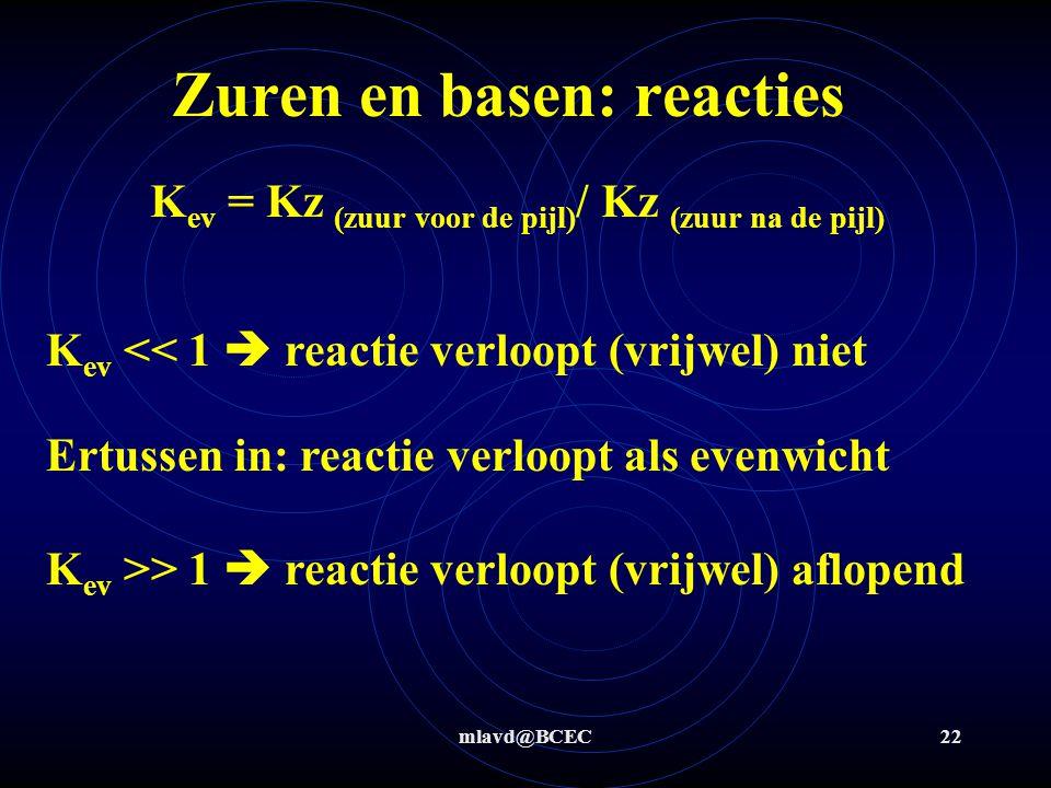 mlavd@BCEC22 Zuren en basen: reacties K ev = Kz (zuur voor de pijl) / Kz (zuur na de pijl) K ev << 1  reactie verloopt (vrijwel) niet K ev >> 1  rea