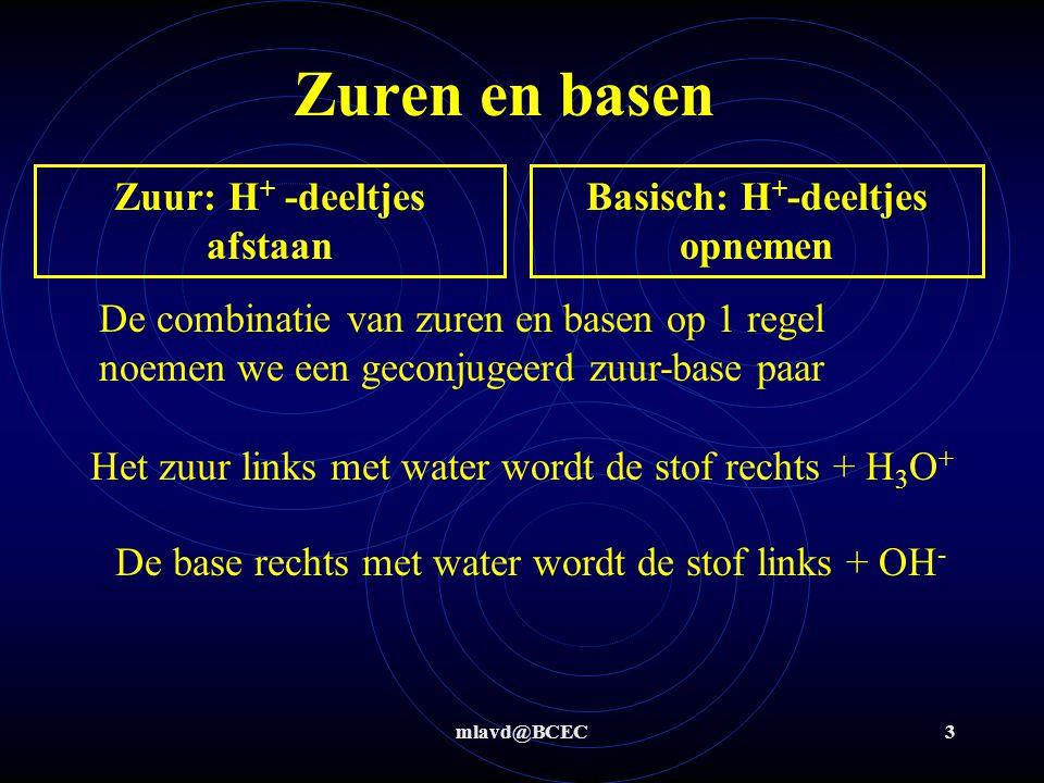 mlavd@BCEC3 Zuur: H + -deeltjes afstaan Basisch: H + -deeltjes opnemen Zuren en basen De combinatie van zuren en basen op 1 regel noemen we een geconj