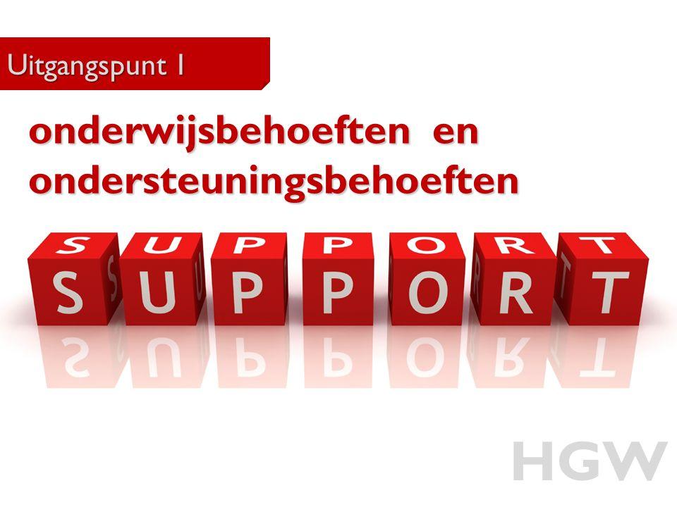 15 Uitgangspunt 1 HGW onderwijsbehoeften en ondersteuningsbehoeften