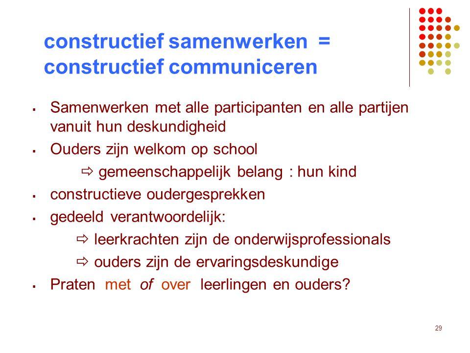 29 constructief samenwerken = constructief communiceren  Samenwerken met alle participanten en alle partijen vanuit hun deskundigheid  Ouders zijn w