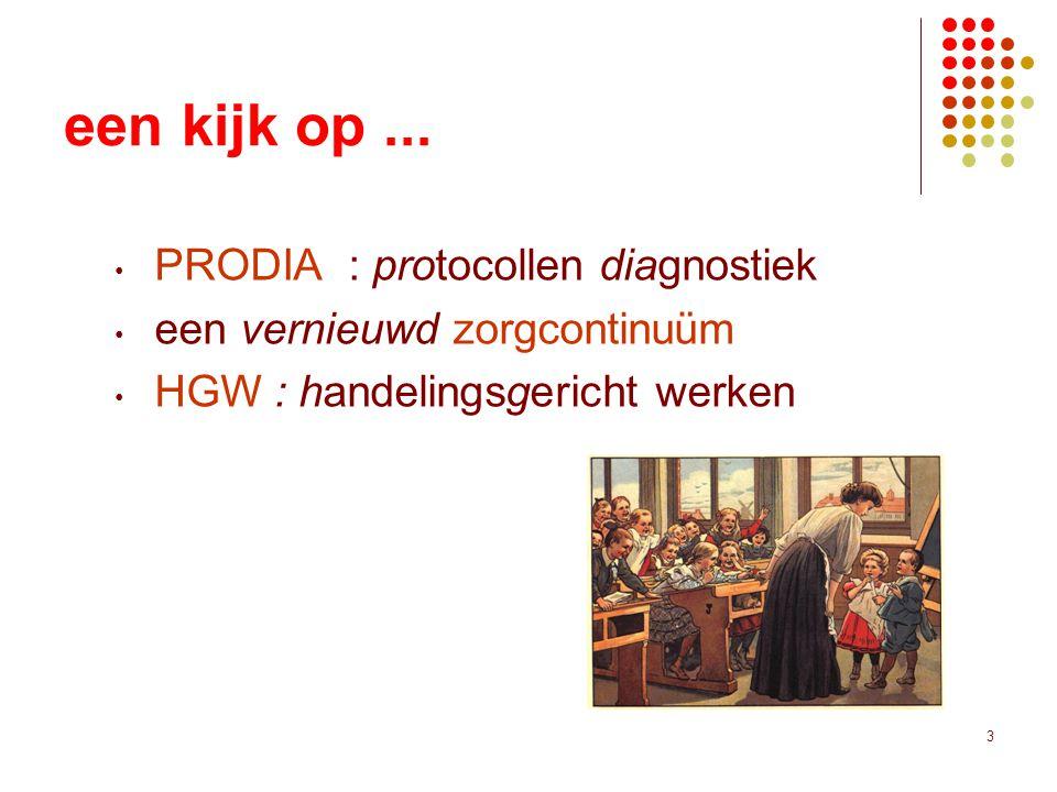 3 een kijk op... PRODIA : protocollen diagnostiek een vernieuwd zorgcontinuüm HGW : handelingsgericht werken