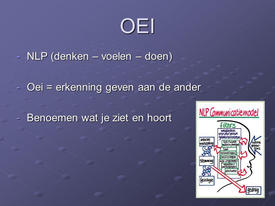 OEI -NLP (denken – voelen – doen) -Oei = erkenning geven aan de ander -Benoemen wat je ziet en hoort