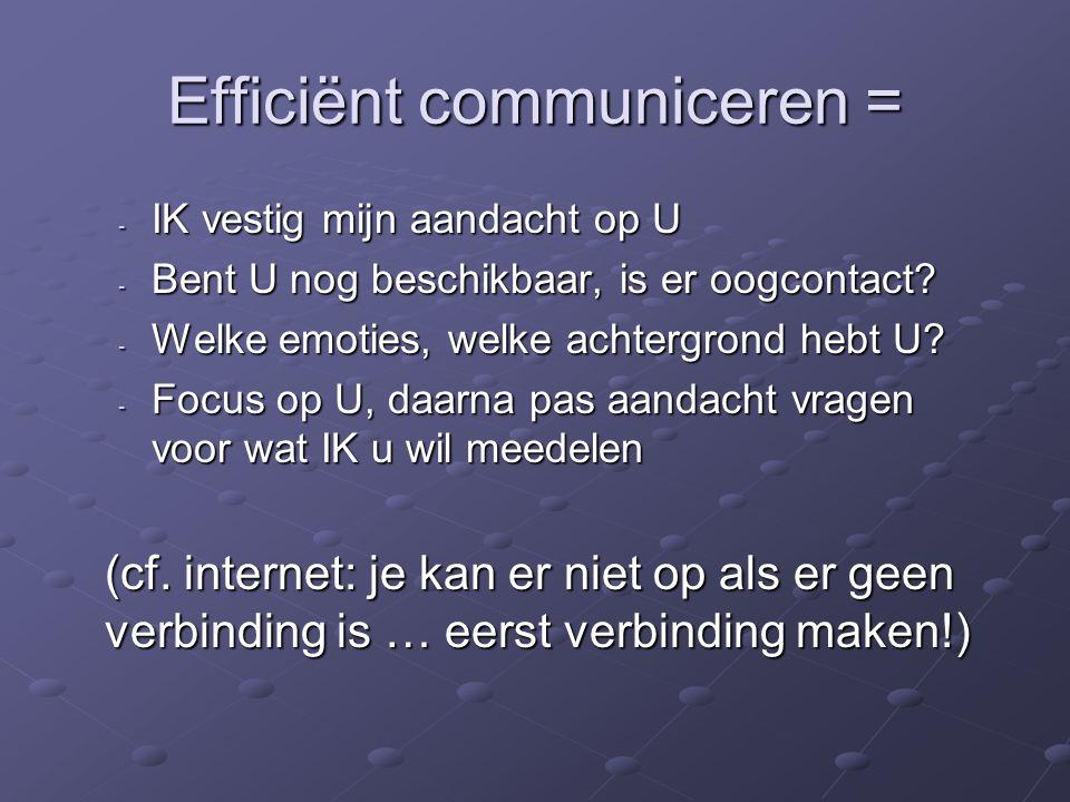 Efficiënt communiceren = - IK vestig mijn aandacht op U - Bent U nog beschikbaar, is er oogcontact.
