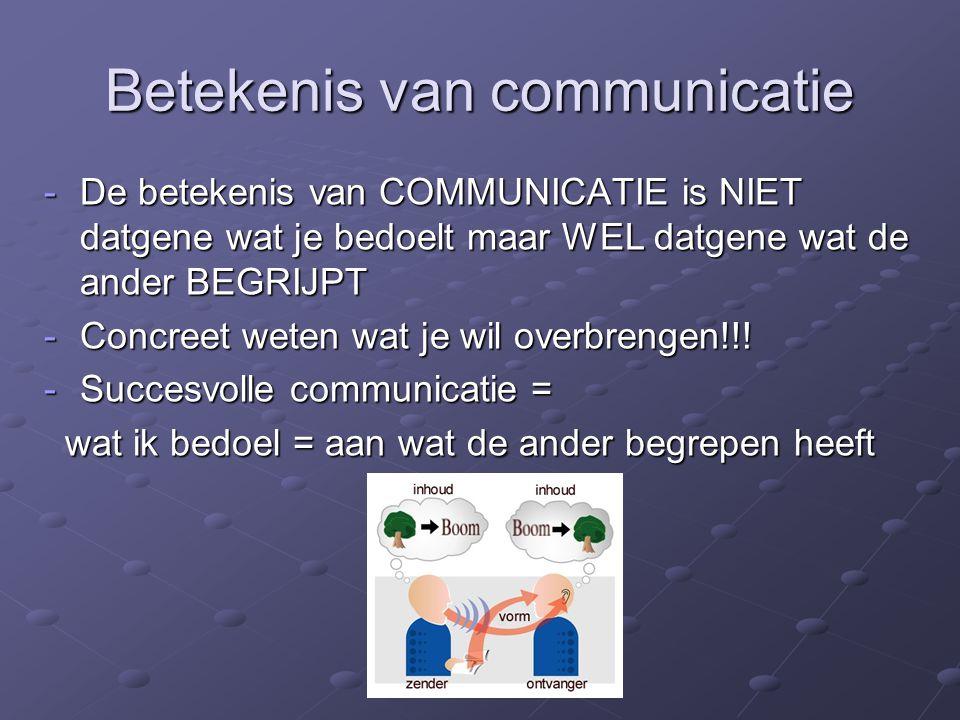 Betekenis van communicatie -De betekenis van COMMUNICATIE is NIET datgene wat je bedoelt maar WEL datgene wat de ander BEGRIJPT -Concreet weten wat je wil overbrengen!!.