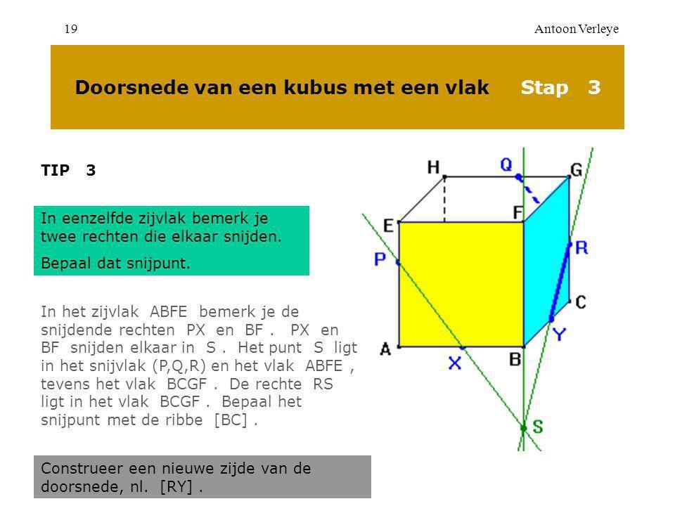 Antoon Verleye19 Doorsnede van een kubus met een vlak Stap 3 TIP 3 In eenzelfde zijvlak bemerk je twee rechten die elkaar snijden.