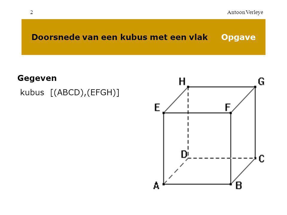 Antoon Verleye2 Doorsnede van een kubus met een vlak Opgave Gegeven kubus [(ABCD),(EFGH)]