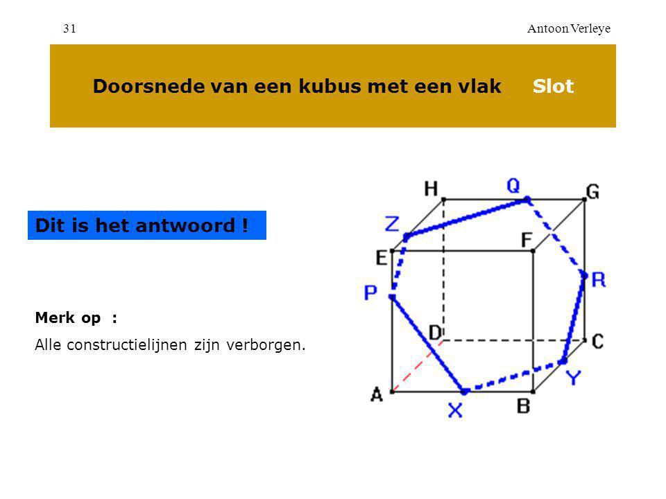 Antoon Verleye31 Doorsnede van een kubus met een vlak Slot Dit is het antwoord .