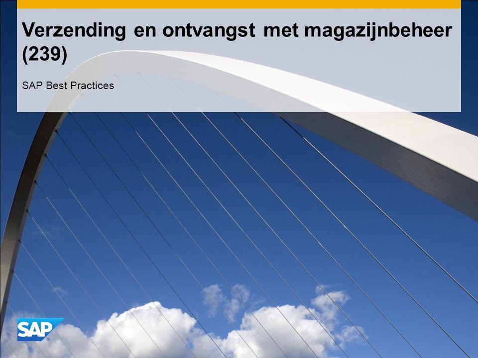 Verzending en ontvangst met magazijnbeheer (239) SAP Best Practices