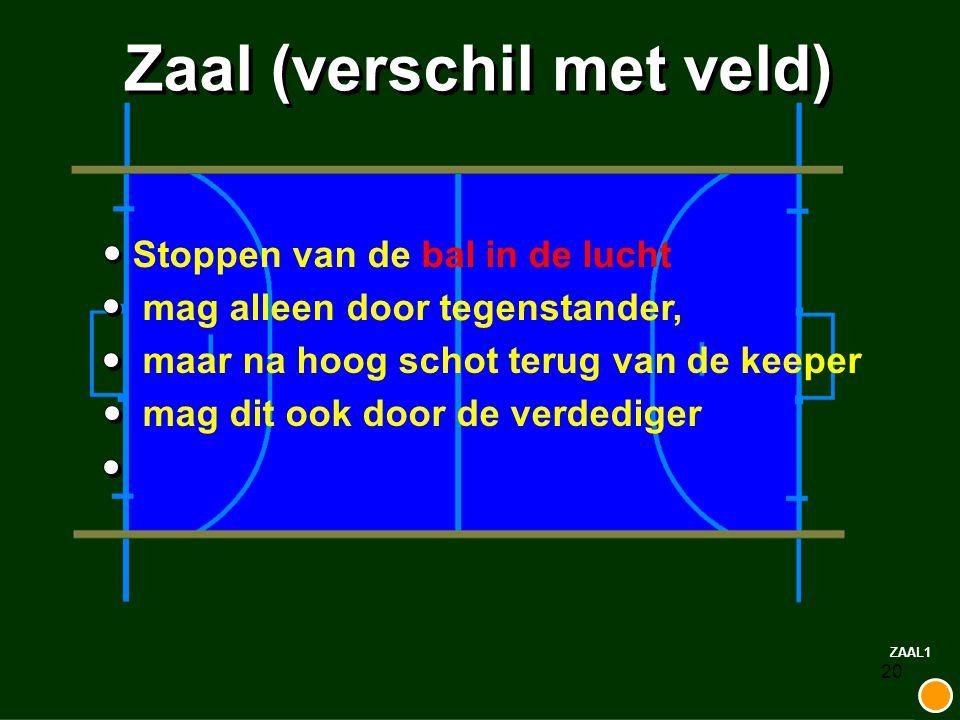 20 Zaal (verschil met veld) Stoppen van de bal in de lucht mag alleen door tegenstander, maar na hoog schot terug van de keeper mag dit ook door de ve
