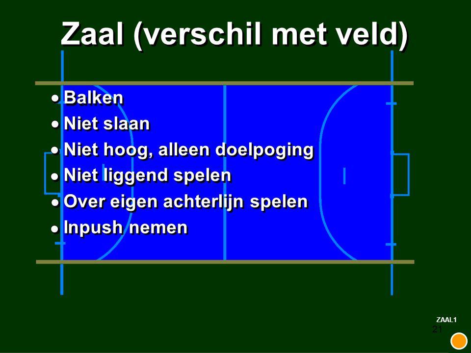 21 Zaal (verschil met veld) Balken Niet slaan Niet hoog, alleen doelpoging Niet liggend spelen Over eigen achterlijn spelen Inpush nemen ZAAL1