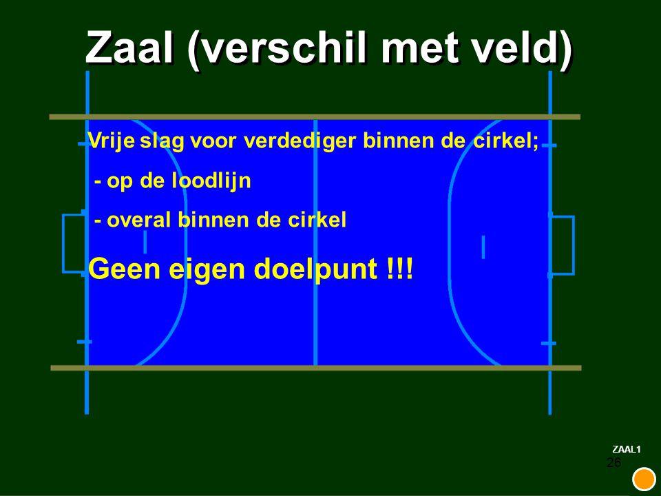 26 Zaal (verschil met veld) ZAAL1 Vrije slag voor verdediger binnen de cirkel; - op de loodlijn - overal binnen de cirkel Geen eigen doelpunt !!!