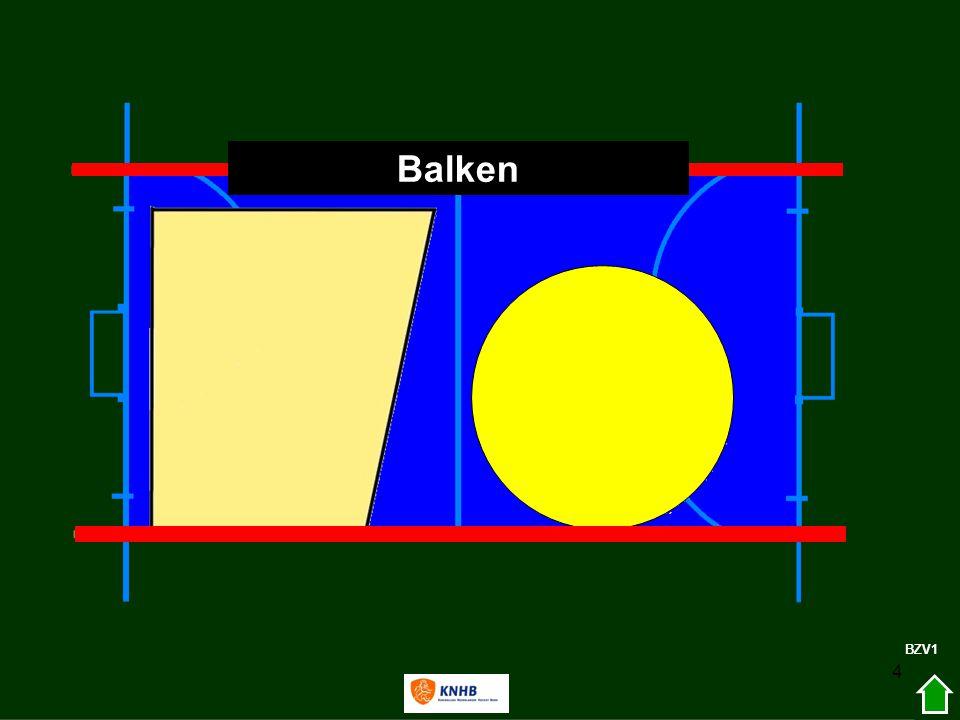 25 Zaal (verschil met veld) ZAAL1 Bal niet tegen de balk klemmen Afzetten tegen het doel mag niet Bij een spelhervatting van de aanval op de speelhelft van de verdediging; de bal mag via de balk de cirkel in worden gespeeld of naar jezelf en dan de cirkel in.