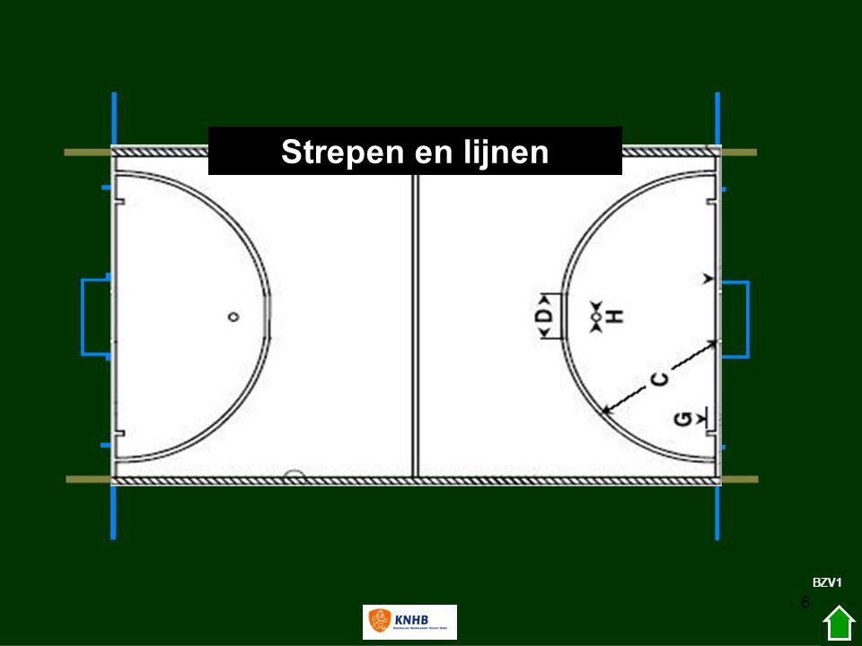 27 Zaal (verschil met veld) Bal niet tegen de balk klemmen Afzetten tegen het doel mag niet cirkel-bully ; midden voor het doel SH aanval op speelhelft verdediging; bal mag via de balk direct de cirkel in ZAAL1