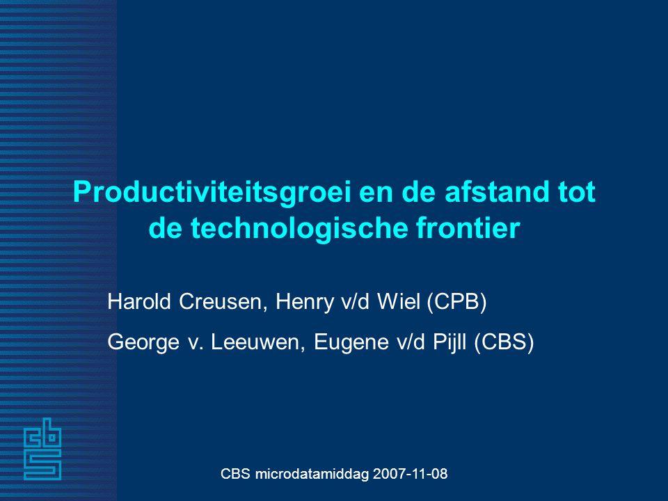 CBS microdatamiddag 2007-11-08 Productiviteitsgroei en de afstand tot de technologische frontier Harold Creusen, Henry v/d Wiel (CPB) George v.